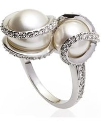 Swarovski - Silver-Tone Double Faux Pearl Ring Size 6 - Lyst