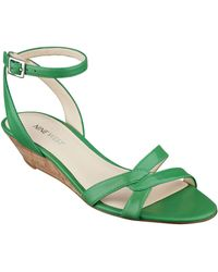 Nine West Valaria Leather Wedge Sandals - Lyst