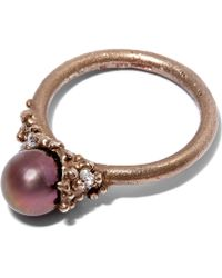 Ruth Tomlinson - White Gold Black Pearl Encrusted Ring - Lyst