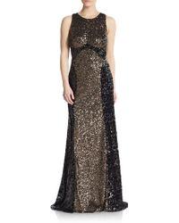 Badgley Mischka Two-Tone Sequin Gown - Lyst