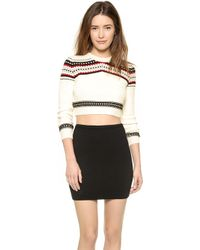 Torn By Ronny Kobo Zulma Cropped Fair Isle Sweater - Ivory - Lyst