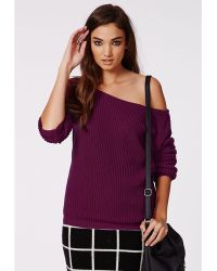 Missguided Ophelita Off Shoulder Knitted Jumper Mauve - Lyst