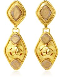 Carole Tanenbaum - 1995 Chanel Diamond Shaped Dangly Cc Earrings With Matte Gold Diamond Insert - Lyst