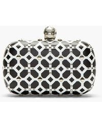 Alexander McQueen Black and White Studded Skull Box Clutch - Lyst