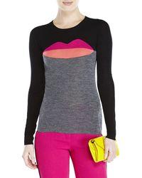 Sonia by Sonia Rykiel Black Color Block Printed Wool Sweater - Lyst