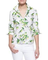 Carolina Herrera Birds Printed Buttondown Blouse - Lyst
