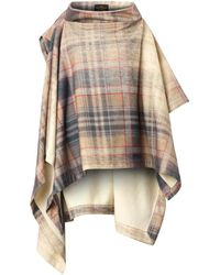 Vivienne Westwood Anglomania Gaia Fadedtartan Cape - Lyst
