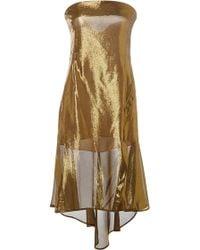 Peter Som Gold Lame Asymmetrical Dress - Lyst