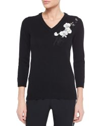 Fendi Cashmere Floral-Embroidered Sweater black - Lyst