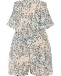 Zimmermann Essence Printed Cotton and Silk Blend Playsuit - Lyst