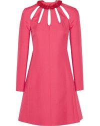 Valentino Cutout Wool And Silk-Blend Crepe Mini Dress - Lyst