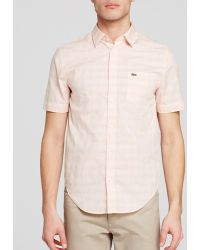 Lacoste Poplin Short Sleeve Check Button Down Shirt - Regular Fit beige - Lyst