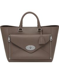 Mulberry Willow Silky Calf Leather Tote Grey - Lyst