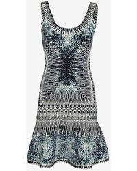 Hervé Léger Denim Print Flare Hem Dress - Lyst