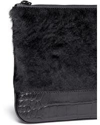 Alexander Wang - Kangaroo Fur Croc Embossed Leather Zip Pouch - Lyst