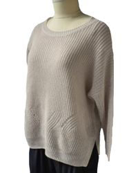 Acrobat Knit Pointelle 3/4 Sleeve Sweater In Stone - Lyst