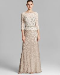 Tadashi Shoji Gown - Three Quarter Sleeve Lace Belted - Lyst