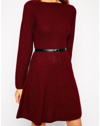 Asos Knit Skater Dress with Stitch Detail and Belt - Lyst