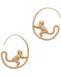 Tory Burch Monkey Hoop Earrings - Worn Gold - Lyst
