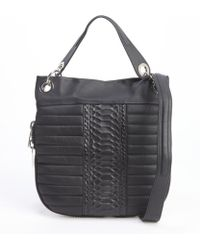 L.a.m.b. Black Leather Casta Quilted Hobo Bag - Lyst