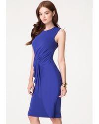 Bebe Draped Jersey Midi Dress - Lyst