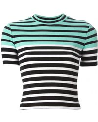 T By Alexander Wang Striped Stetch Cotton T-Shirt - Lyst