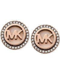 Michael Kors Rose Gold-Tone Mk Logo Disc Earrings pink - Lyst