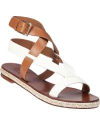 Tory Burch Marbella Platform Sandal Ivory Tan Leather brown - Lyst