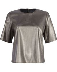 River Island Silver Perforated Leather-Look Boxy T-Shirt - Lyst
