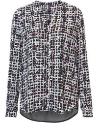 NYDJ - Overlayed Plaid Blouse In Multi Colour - Lyst