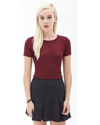 Forever 21 Ribbed Crop Top - Lyst