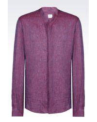 Armani   Shirt In Micro Check Linen   Lyst
