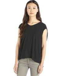 Alternative Apparel Black Woven Cap Sleeve Relaxed Fit Scoopneck 'Ono' Top - Lyst