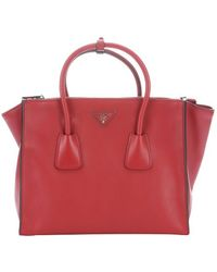 Prada Fuoco Leather Convertible Top Handle Tote - Lyst