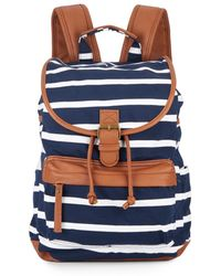 Madden Girl - Benji Striped Canvas & Faux Leather Backpack - Lyst