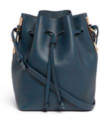 Sophie Hulme Small Leather Drawstring Bucket Bag blue - Lyst