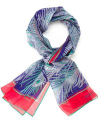 Liberty Peacock Silk Scarf - Lyst