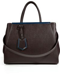 Fendi Leather 2jours Tote in Coffee Black - Lyst