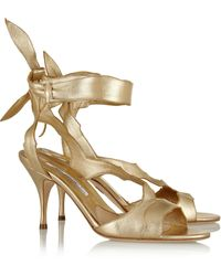 Brian Atwood Temptation Metallic Leather Sandals - Lyst