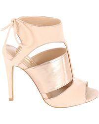 Jane Norman - Lace Up Rose Gold Cage Heels - Lyst