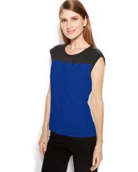 Calvin Klein Cap Sleeve Studded Colorblocked Top - Lyst