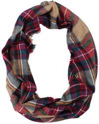 Look By M Wool Plaid Infinity Scarf brown - Lyst