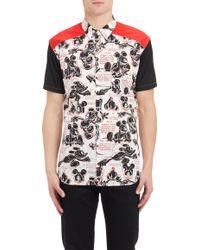 Comme Des Garçons Colorblock Mickey Mouse-print Short-sleeve Shirt - Lyst