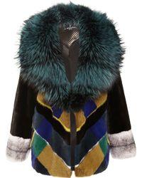 J. Mendel Plaid Mink Jacket with Silver Fox Collar - Lyst