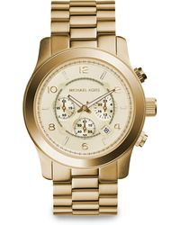 Michael Kors Runway Goldtone Stainless Steel Chronograph Bracelet Watch - Lyst