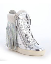 Giuseppe Zanotti Silver Metallic Leather And White Crystal Studded Tassel Wedge Heel Sneakers - Lyst
