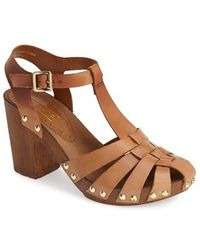 Topshop Women'S 'Nelly' Leather Platform Sandal - Lyst