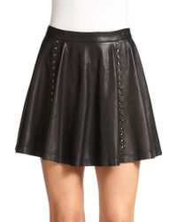 Alice + Olivia Akira Leather Mini Skirt - Lyst