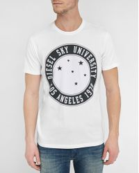 DIESEL | White Joe-a University Logo Round-neck T-shirt | Lyst