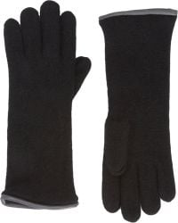 Barneys New York Leather Piped Knit Gloves - Lyst